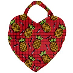 Fruit Pineapple Red Yellow Green Giant Heart Shaped Tote by Alisyart