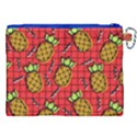 Fruit Pineapple Red Yellow Green Canvas Cosmetic Bag (XXL) View2