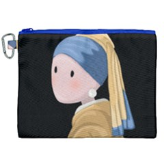 Girl With A Pearl Earring Canvas Cosmetic Bag (xxl) by Valentinaart