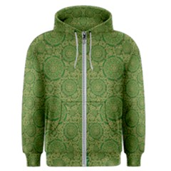Stars In The Wooden Forest Night In Green Men s Zipper Hoodie by pepitasart