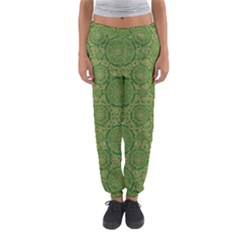Stars In The Wooden Forest Night In Green Women s Jogger Sweatpants by pepitasart