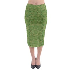 Stars In The Wooden Forest Night In Green Midi Pencil Skirt by pepitasart