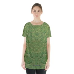 Stars In The Wooden Forest Night In Green Skirt Hem Sports Top by pepitasart