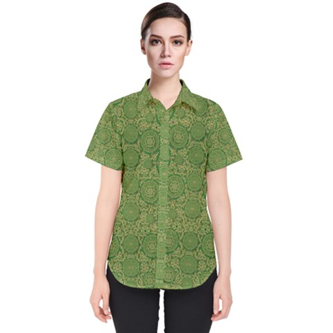 Stars In The Wooden Forest Night In Green Women s Short Sleeve Shirt by pepitasart