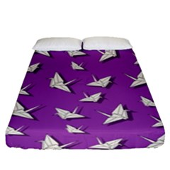 Paper Cranes Pattern Fitted Sheet (queen Size) by Valentinaart