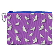 Paper Cranes Pattern Canvas Cosmetic Bag (xl) by Valentinaart
