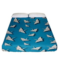 Paper Cranes Pattern Fitted Sheet (california King Size) by Valentinaart