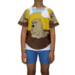 Groundhog Day Kids  Short Sleeve Swimwear by Valentinaart