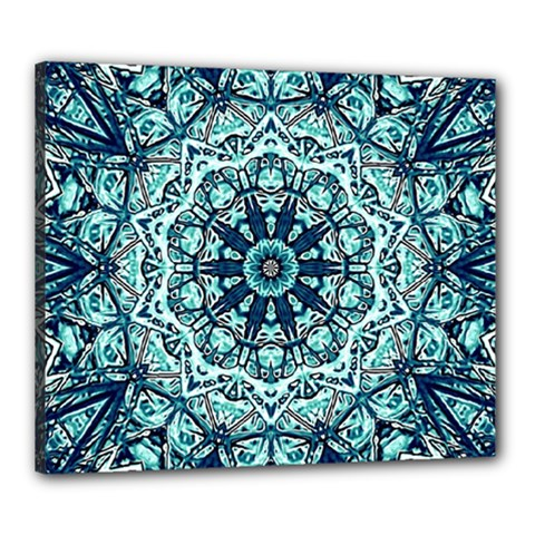 Green Blue Black Mandala  Psychedelic Pattern Canvas 24  X 20  by Costasonlineshop