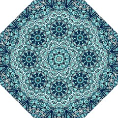 Green Blue Black Mandala  Psychedelic Pattern Folding Umbrellas by Costasonlineshop