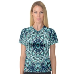 Green Blue Black Mandala  Psychedelic Pattern V Neck Sport Mesh Tee by Costasonlineshop