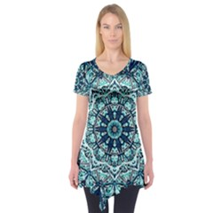 Green Blue Black Mandala  Psychedelic Pattern Short Sleeve Tunic  by Costasonlineshop
