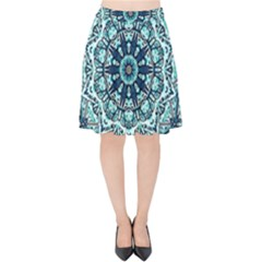 Green Blue Black Mandala  Psychedelic Pattern Velvet High Waist Skirt by Costasonlineshop