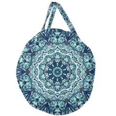 Green Blue Black Mandala  Psychedelic Pattern Giant Round Zipper Tote by Costasonlineshop