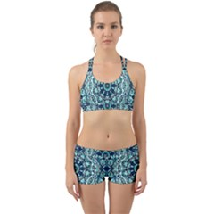 Green Blue Black Mandala  Psychedelic Pattern Back Web Sports Bra Set by Costasonlineshop