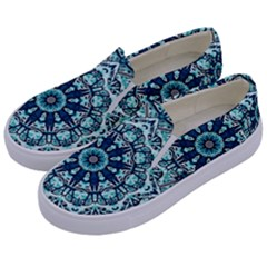 Green Blue Black Mandala  Psychedelic Pattern Kids  Canvas Slip Ons by Costasonlineshop