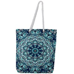 Green Blue Black Mandala  Psychedelic Pattern Full Print Rope Handle Tote (large) by Costasonlineshop