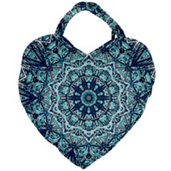 Green Blue Black Mandala  Psychedelic Pattern Giant Heart Shaped Tote by Costasonlineshop