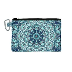 Green Blue Black Mandala  Psychedelic Pattern Canvas Cosmetic Bag (medium) by Costasonlineshop