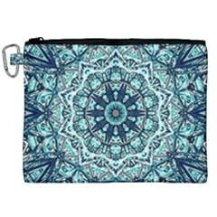 Green Blue Black Mandala  Psychedelic Pattern Canvas Cosmetic Bag (xxl) by Costasonlineshop