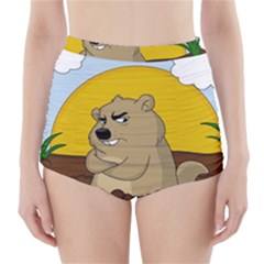 Groundhog Day High Waisted Bikini Bottoms by Valentinaart