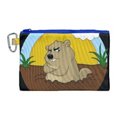Groundhog Day Canvas Cosmetic Bag (large) by Valentinaart