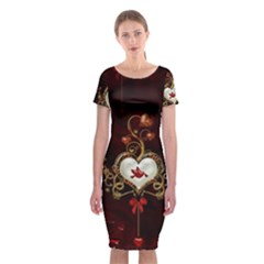Wonderful Hearts With Dove Classic Short Sleeve Midi Dress by FantasyWorld7
