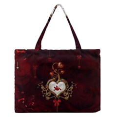 Wonderful Hearts With Dove Zipper Medium Tote Bag by FantasyWorld7