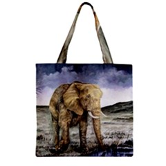 Elephant Zipper Grocery Tote Bag
