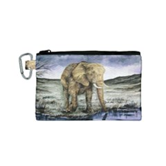 Elephant Canvas Cosmetic Bag (small) by ArtByThree