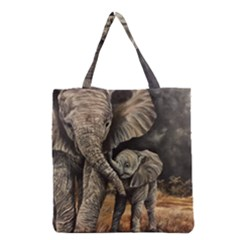 Elephant Mother And Baby Grocery Tote Bag by ArtByThree