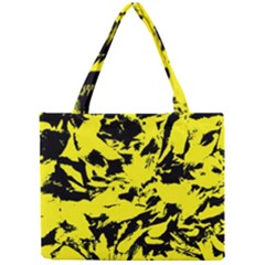 Yellow Black Abstract Military Camouflage Mini Tote Bag by Costasonlineshop