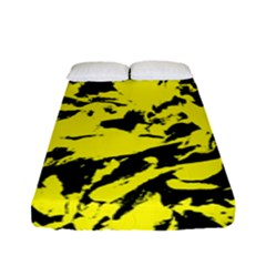 Yellow Black Abstract Military Camouflage Fitted Sheet (full/ Double Size) by Costasonlineshop