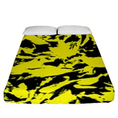 Yellow Black Abstract Military Camouflage Fitted Sheet (king Size)