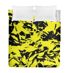 Yellow Black Abstract Military Camouflage Duvet Cover Double Side (full/ Double Size) by Costasonlineshop