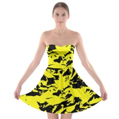 Yellow Black Abstract Military Camouflage Strapless Bra Top Dress