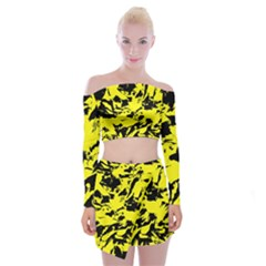 Yellow Black Abstract Military Camouflage Off Shoulder Top With Mini Skirt Set by Costasonlineshop