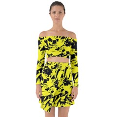 Yellow Black Abstract Military Camouflage Off Shoulder Top With Skirt Set
