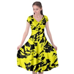 Yellow Black Abstract Military Camouflage Cap Sleeve Wrap Front Dress by Costasonlineshop