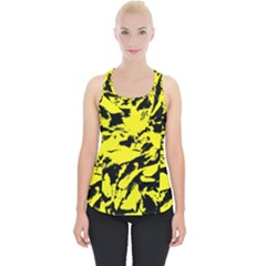 Yellow Black Abstract Military Camouflage Piece Up Tank Top by Costasonlineshop