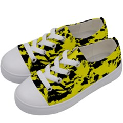 Yellow Black Abstract Military Camouflage Kids  Low Top Canvas Sneakers by Costasonlineshop