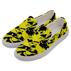 Yellow Black Abstract Military Camouflage Men s Canvas Slip Ons by Costasonlineshop
