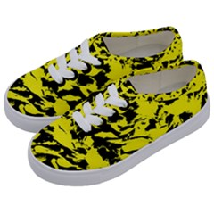 Yellow Black Abstract Military Camouflage Kids  Classic Low Top Sneakers by Costasonlineshop