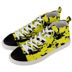 Yellow Black Abstract Military Camouflage Men s Mid Top Canvas Sneakers by Costasonlineshop
