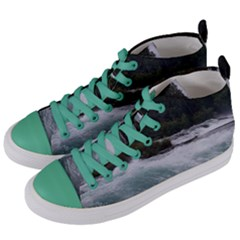 Sightseeing At Niagara Falls Women s Mid Top Canvas Sneakers by canvasngiftshop