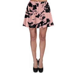Old Rose Black Abstract Military Camouflage Skater Skirt by Costasonlineshop
