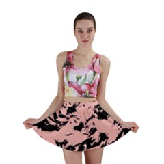 Old Rose Black Abstract Military Camouflage Mini Skirt by Costasonlineshop