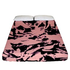 Old Rose Black Abstract Military Camouflage Fitted Sheet (california King Size) by Costasonlineshop