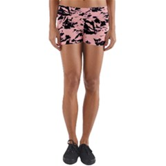 Old Rose Black Abstract Military Camouflage Yoga Shorts by Costasonlineshop