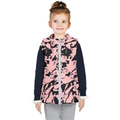 Old Rose Black Abstract Military Camouflage Kid s Puffer Vest